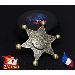 Hand Spinner étoile de Shérif Cow-Boy Métal + CÉRAMIQUE (OR) France en Stock ©