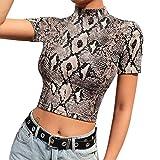 LANSKIRT_Blusa Camisetas de Mujer Mujer Elegantes Camisa de Cuello Alto para Mujer Camisetas de Manga Corta con Estampado de Leopardo Tops Mujer Fiesta Sexy