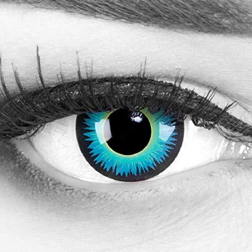 Funnylens 1 Paar farbige grüne blaue schwarze Crazy Fun Seraphin Jahres Kontaktlinsen perfekt zu Halloween, Karneval, Fasching oder Fasnacht mit gratis Kontaktlinsenbehälter ohne Stärke!