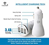 Tantra Car Charger 3.4 Amp Universal 3 USB Intelligent Smart Chip Plug Car Charger with LED Indicator and For All Types of Cars For Apple iPhone, Samsung, Micromax, HTC, Nokia, OnePlus, Xiaomi & All Other Smartphones And Tablets - Smallest Car Charger (Black - White)