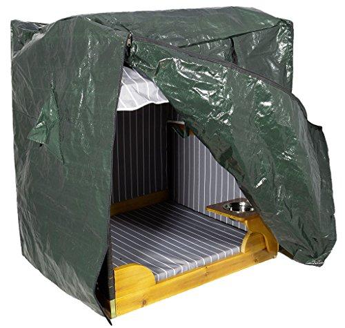 Schutzhülle für Hunde- und Katzenstrandkorb / Zubehörartikel / Einheitsgröße - passend für beide Strandkörbe - Sitzhöhe 70cm und Sitzhöhe 50cm / schützt zuverlässig bei jedem Niederschlag / Luftschlitze / praktischer Reißverschluss für einfaches Öffnen / PVC / dunkelgrün / Gewebeplane / Abdeckplane / Überzug / Trendyshop365