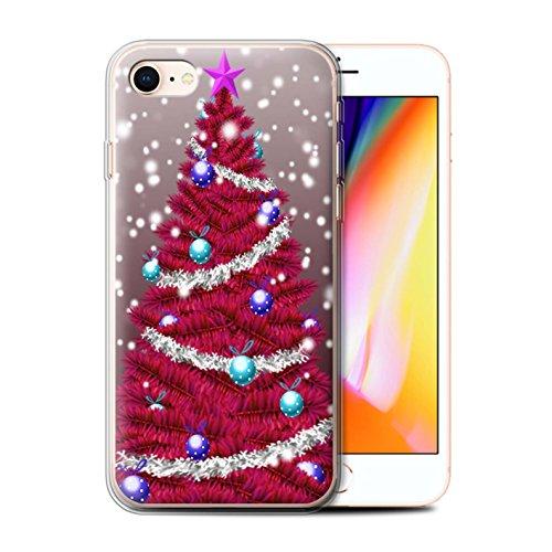 Stuff4 Gel TPU Hülle / Case für Apple iPhone 8 / Grün Muster / Weihnachts Tannenbaum Kollektion Rot