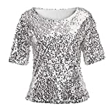 Yvelands Damen Pailletten Sparkle Cocktail Party Lässige Top Bluse Crop Tops Shirt Kurzarm T-Shirt(CN-M,Silber)