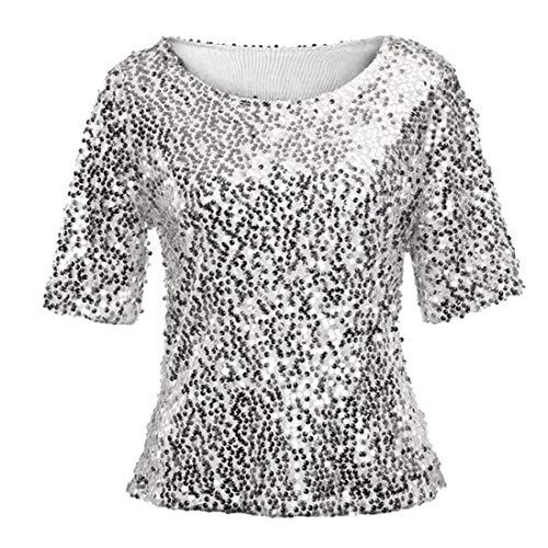 Yvelands Damen Pailletten Sparkle Cocktail Party Lässige Top Bluse Crop Tops Shirt Kurzarm T-Shirt(CN-XL,Silber)