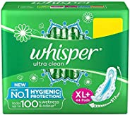 Whisper Ultra Clean Sanitary Pads for Women, XL+ 44 Napkins