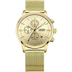 YPS Men Nail Shape Scale Three Functional Subdial Calendar Mesh Band Quartz Wristwatch WTH5344