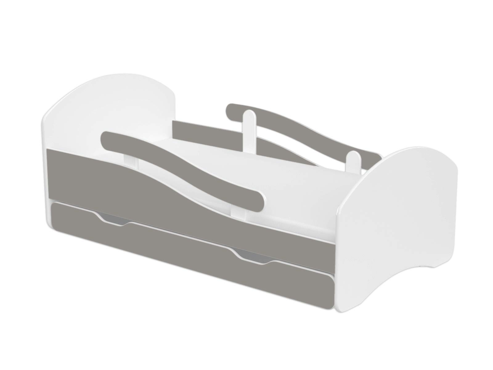 ChildrensBeds Home Single Bed Oscar For Kids Children Toddler Juniors With Drawers But No Mattress Included (White - Grey, 140x70) Children's Beds Home Bed with barriers - internal dimensions 140x70, 160x80, 180x80 (External dimensions: 145x76, 165x86, 185x86) Height to top of the bed frame at lowes point is 27 cm. Bed frame with load capacity of 100 kg, Fittings + installation instructions Universal bed entrance - right or left side, front barriers can be easily removed during the day and put back at night 1