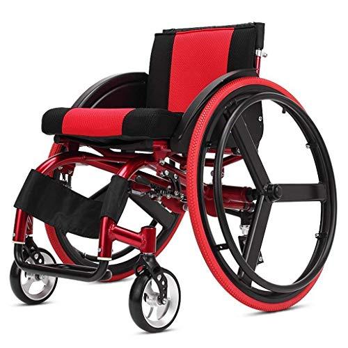 A&DW Freizeit Sport Rollstuhl Falten leichte Aluminiumlegierung, schnell zerlegbare große Rad Mode Warenkorb mit Bremse, Fußstütze, Armlehne (rot) -