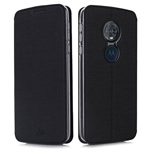 Eastcoo Handyhülle für Motorola Moto G6 Play Hülle PU Leder Flip Case Tasche Cover Schutzhülle mit [Standfunktion][Magnetic Closure][Wallet] für Motorola Moto g6 Play Smartphone (Black)