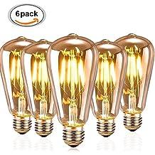 Retro Edison Bombilla,Vintage Bombilla KUXIEN 6pcs E27 Edison Vintage Lámpara incandescente,Loop Estilo Lámpara de Bombillas Para el Hogar Accesorios Nostálgico Decorativa de (6PC)