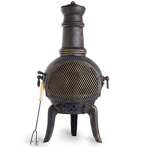 VonHaus Cast Iron Chiminea � Black Outdoor Garden Patio Heater with a Brushed Bronze Finish (96 x 48cm)