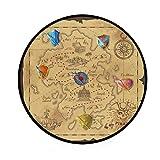CPYang Teppich, Vintage-Design, mit Kompass, Weltkarte, rutschfest, rund, Spielteppich, für Wohnzimmer, Schlafzimmer, Flur, Heimdekoration, Durchmesser: 92 cm