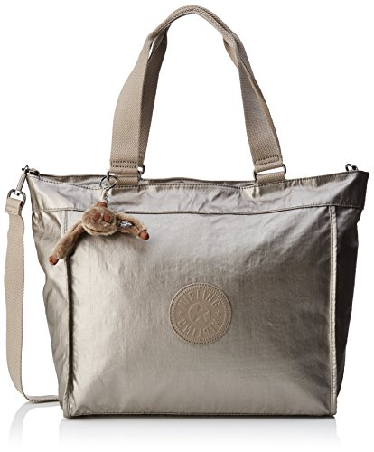 Kipling Damen New Shopper L Tote, Gold (Metallic Pewter), 48.5x34x0.1 cm (Tote Gold-große)