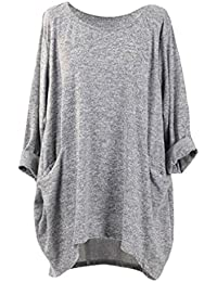 Yying Oversize Camiseta Manga Larga Mujer T-Shirt Sólido Bolsillo Cuello Redondo Elegante Suelto Sayo Casual Blusas Primavera Verano…