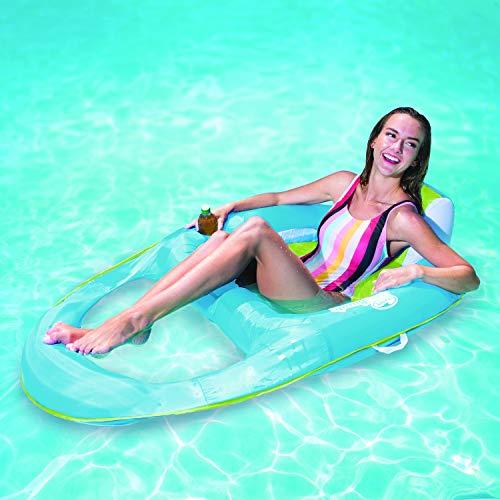 SwimWays - 6045228 - Spring Float Recliner - Fauteuil Gonflable de Piscine Semi Immergé en Tissu - Couleur Aléatoire