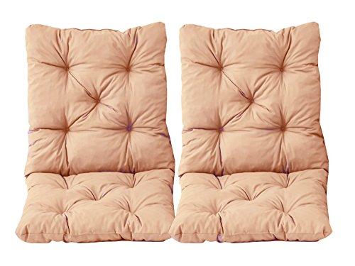 Ambientehome 2er Set Sitzkissen und Rückenkissen Sessel Hanko, Beige (apricot), ca 98x50 cm,...