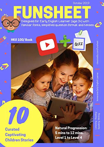 Funsheet: Early Learner Worksheets for 10 Best Youtube Children Stories: Use Youtube Videos to practice English Listening and Reading skills (suitable for age 3-8) (English Edition)