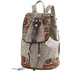 GMS467 Las Mujeres De La Vendimia Niñas Étnico Tribal Shoulder Bag Mochila Bordada Retro, Lona Étnica Retro Bandolera, Bolso De Escuela De Arte Personalizado, Mochila De Señora De Viajes De Ocio ( Color : Marrón )