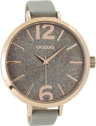 Oozoo Damenuhr mit Lederband 48 MM Rose/Glitzer/Grau C9190