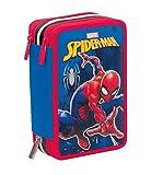Trousse Scolaire 3 Compartiments Marvel SPIDER-MAN , Rouge Bleu , Avec contenu: crayons, stylos... !