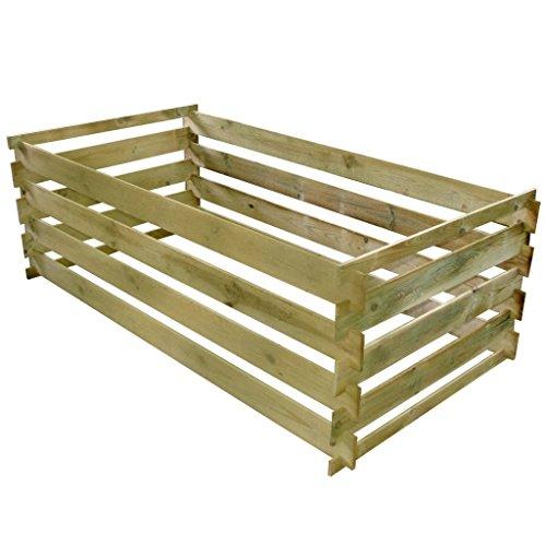 vidaXL Compostiera da Giardino a Stecche in Legno Bidone per Rifiuti Organici