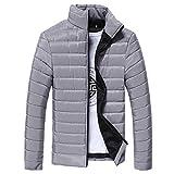 Kanpola Herren Steppjacke Winter Warm Daunen Coat Jacke mit Kapuze Parka Daunenjacke (M/48, B-Grau)