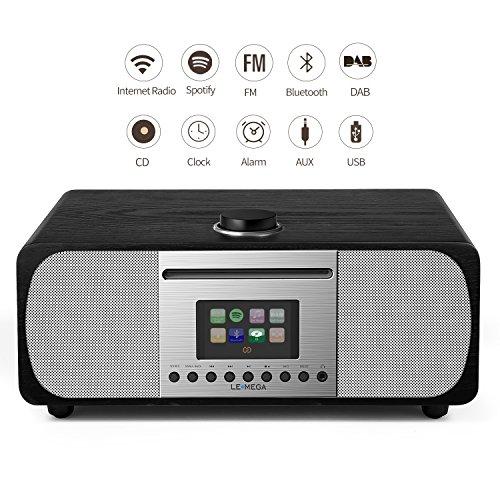 Lemega m5+ cd, wi-fi, dlna, spotify collegare, internet radio, dab, dab+, radio fm con bluetooth e orologio, snooze, allarme, 2.1 sistema di altoparlanti stereo hifi (nero quercia)