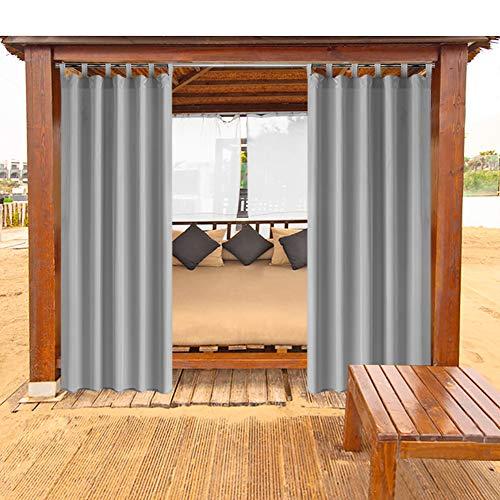 VIHII Outdoor Vorhänge Gartenlauben Balkon-Vorhänge Gardinen Verdunkelungsvorhänge Vorhang Wasserdicht Mehltau beständig für Pavillon Strandhaus 1 Stück,132x245cm,grau