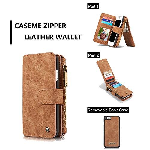 Wkae Étui Case CaseMeMe Case pour iPhone 7 4,7 pouces Vintage Leather Multifonctionnel Magnétique Fermoir détachable ( Color : Red ) Brown