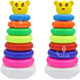 CkTech Combo Pack of 2 Smiley Stacking Colouring Teddy Rings for Kids 7 pcs Multi Color, Stacking Toy 7 Combo…