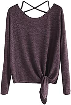 2018 Heligen Damen Langarm Bluse Oberteile Elegant Lose Pullover Top Shirts  Damen Kreuz Pullover Langarmshirts Tops 82dbadf07f