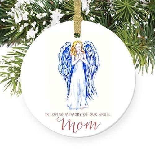 For367Walton Dekofigur In Loving Memory of Mom, Weihnachtsschmuck, Weihnachtsschmuck, 7,6 cm, flach, rund, Porzellan, glänzend glasiert