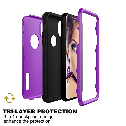 iPhone X Coque, Lantier 3in1 Anti Slip Scratch Dual Layer Heavy Duty Angel Wings Hybrid Armor Hard Soft Rubber Full Body Protective Durable Shockproof Case Cover pour Apple iPhone X Bleu