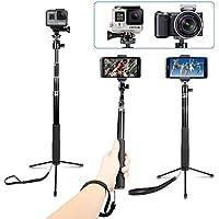 AnKooK - Palo de Selfie Extensible Impermeable con Soporte Universal de Mini trípode para GoPro Hero 6/5/Yi/AKASO EK7000/Brave4/APEMAN/DBPOWER/Campark/Crosstour SS002