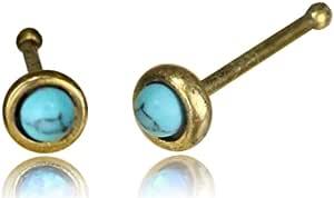Chic-Net - Piercing da naso con pietra turchese e nostril trago in ottone anticato, rotondo, 8 mm di lunghezza