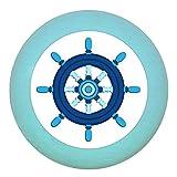 Möbelknopf Möbelgriff Möbelknauf Jungen hellblau dunkelblau blau Massivholz Buche - Kinder Kinderzimmer Steuerrrad blau dunkelblau maritim - türkis hell