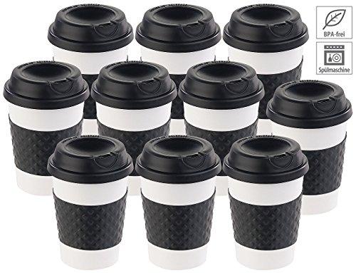 PEARL Thermotasse mit Deckel: 10er-Set Coffee-to-go-Becher, Deckel, 350 ml, doppelwandig, BPA-frei...