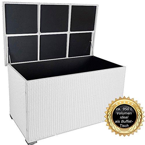 """Buffet-terrasse Tisch (PREMIUM """"Venezia"""" 950 L XXL Kissenbox (es regnet nicht rein) L 146 cm x B 83 cm x H 80 cm ideal als Buffet Tisch nutzbar mit 2 x Gasdruckstoßdämpfer und eingebauter Tischplatte Farbe: Weiss)"""