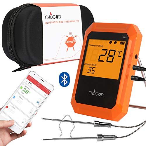 Grillthermometer BBQ Thermometer6 sondeBratenthermometer Digitale Küchenthermometer Haushaltsthermometer Intelligente mit Easy BBQ App für IPhone iPad iOS und Android-kompatibel (2 Sonden erhalten)