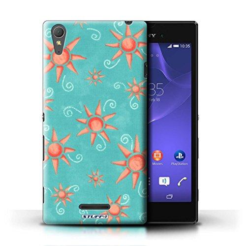 Kobalt® Imprimé Etui / Coque pour Sony Xperia T3 / Vert/Rose conception / Série Motif Soleil Turquoise/Rouge