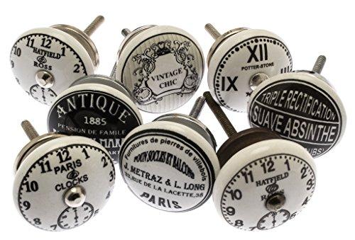 Foto de Set mixto de pomos vintage en blanco y negro, de cerámica, para alacenas, paquete de 8 unidades, de la marca Mango Tree