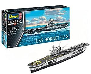 Revell- Barco de Guerra USS Hornet CV-8, Kit Modelo, Escala 1: 1200 (5823) (05823), 20,6 cm de Largo (