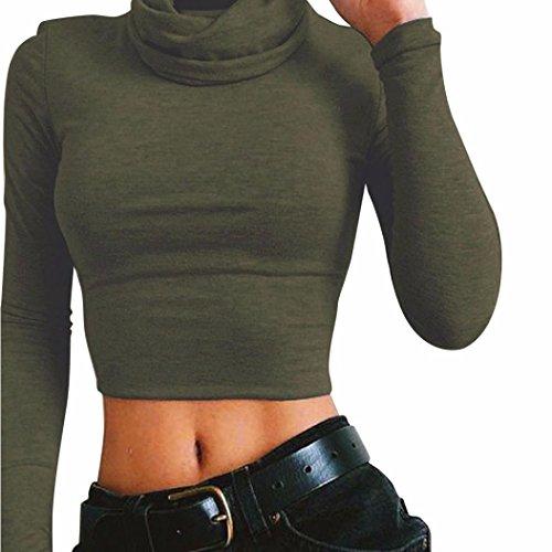Koly _T-shirt a collo alto Crop modo delle donne manicotto lungo camicetta (S, Army Green)