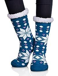 DOFUN Womens Girl Super Soft Knee High Warm Winter Fuzzy Snowflake Fleece Lined Slipper Socks
