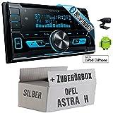 Opel Astra H silber - Kenwood DPX-X5000BT - 2DIN Bluetooth USB Autoradio - Einbauset