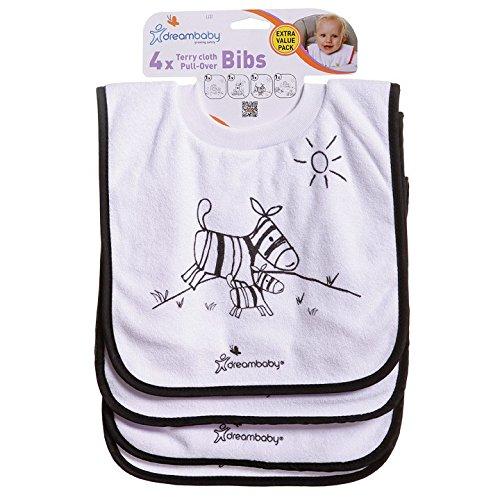Dreambaby PULL-OVER BIBS - 4 Frottee Lätzchen (Savannentiere) (Ziehen über Baby-lätzchen)