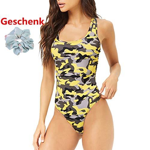 ♥ Loveso♥ Damen Backless Badeanzug Push Up Bademode Bauchweg Figurformend Bandeau Retro Bademode Tarnung-Druck -