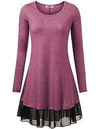 DJT Damen Vintage Langarm Einfarbig Kleider mit Chiffon Saum