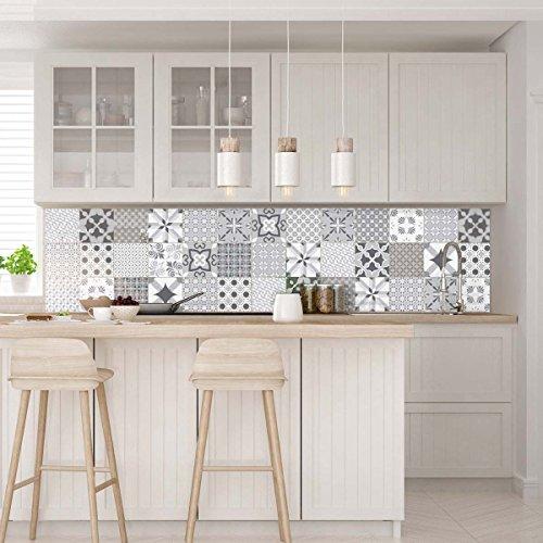 Ambiance-live piastrelle di cemento adesivo da parete, nuance de gris romantique, 15 x 15 cm