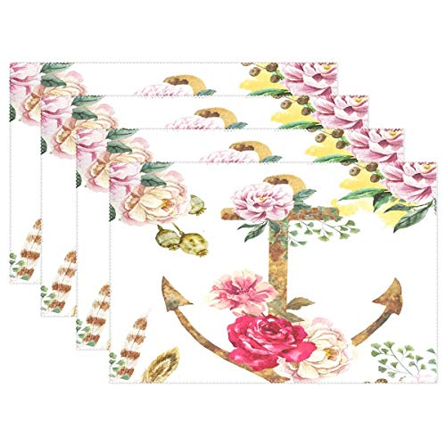 Promini Hitzebeständige Tischsets, Vintage-Anker Blume, waschbar, Polyester, Rutschfest, waschbar, Platzsets für Küche und Esszimmer, 4 Stück - Suntouch Mat